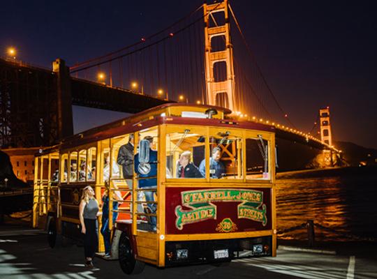 San Francisco Cable Car under the Golden Gate Bridge